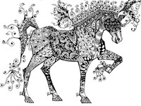 Coloriage anti-stress Cheval