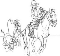 Coloriage adulte Cowboys à cheval