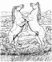 Art Therapy coloring page Horses on 2 legs