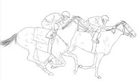 Coloriage adulte Course de chevaux