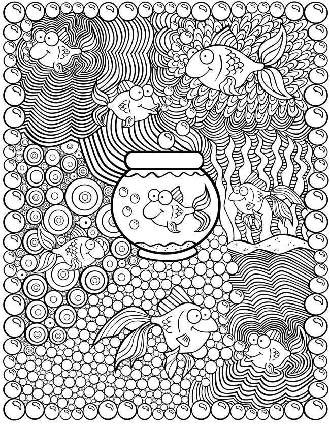 Coloriage anti-stress Poissons