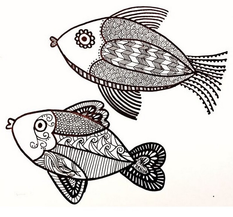 Art Therapy Coloring Page Fishes 3