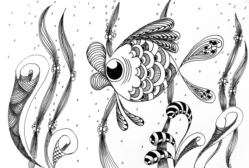 Beautiful Kissing Fish Coloring Pages - Download & Print Online ... | 572x849