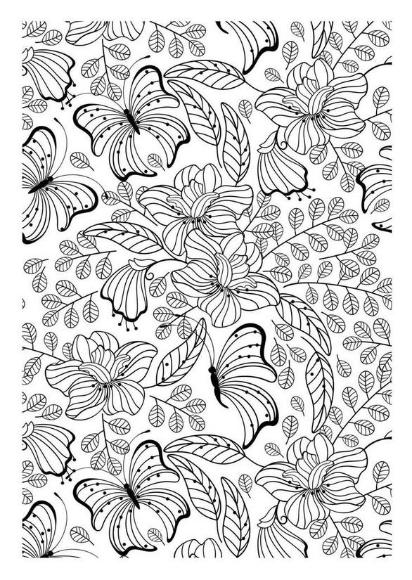 Coloriage Adulte Papillons Motif Papillons Et Fleurs 2