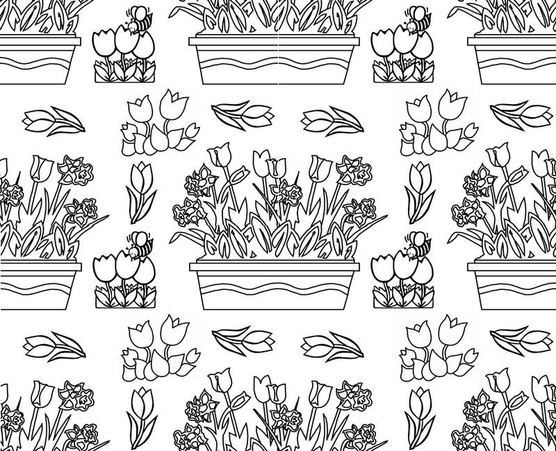 Dibujos para colorear para adultos flores  Tulipanes 2