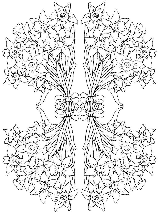 Dibujos para colorear para adultos flores  Jacintos 3