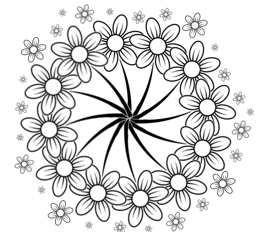 Dibujos para colorear para adultos flores  Margaritas 7