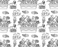 Adult coloring page Flowers: tulips