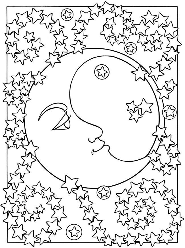 Adult coloring page moon sun stars The moon and the stars 1