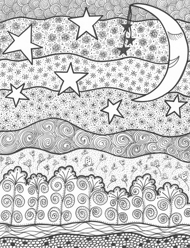 Adult coloring page moon sun stars Starry night 10