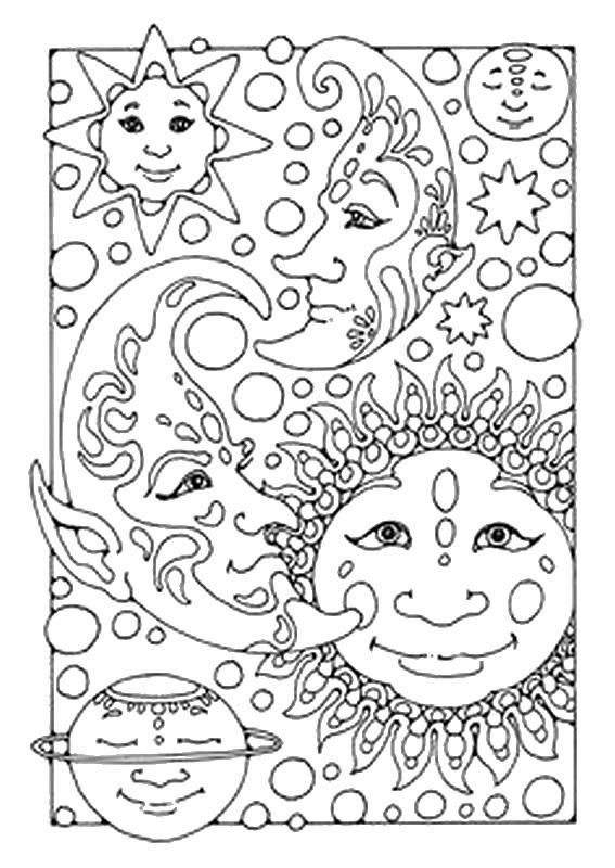 Anti Stress Kleurplaten Sterren Zon Maan 2