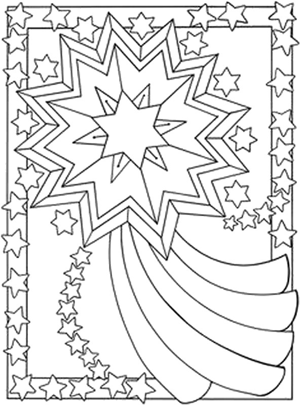 free coloring pages moon and stars | Art Therapy coloring page moon sun stars : Falling star 3