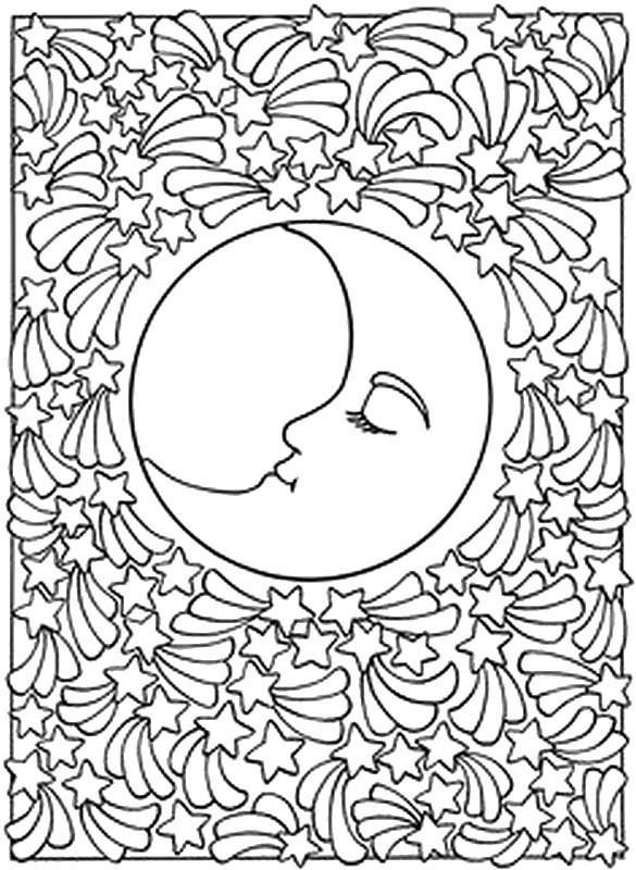 Ausmalen Als Anti Stress Sonne Mond Sterne Sternschnuppen 4
