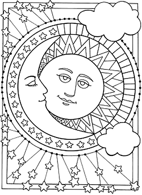 Desenho Para Colorir Anti Stress Estrelas Sol Lua 6