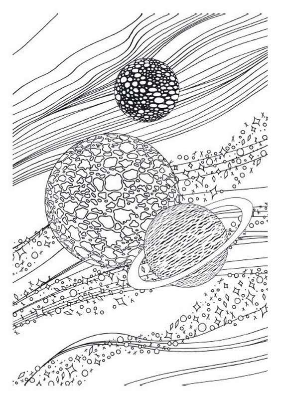 Adult coloring page moon sun stars Saturn 7