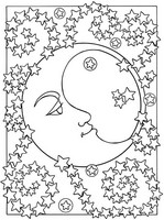 Art Therapy coloring page The moon and the stars