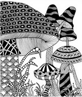 Art Therapy coloring page Mushrooms Autumn