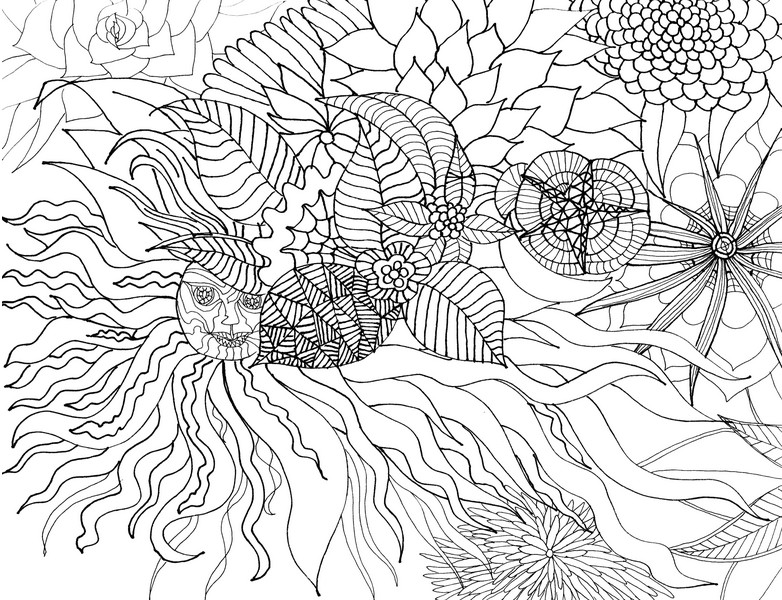 adult coloring pages summer - disegno da colorar antistress estate sun e fiori estivi 12