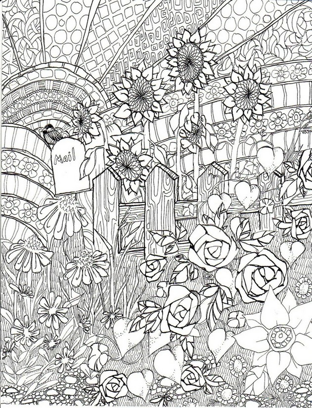 Art Therapy coloring page Summer : Sunflowers 2