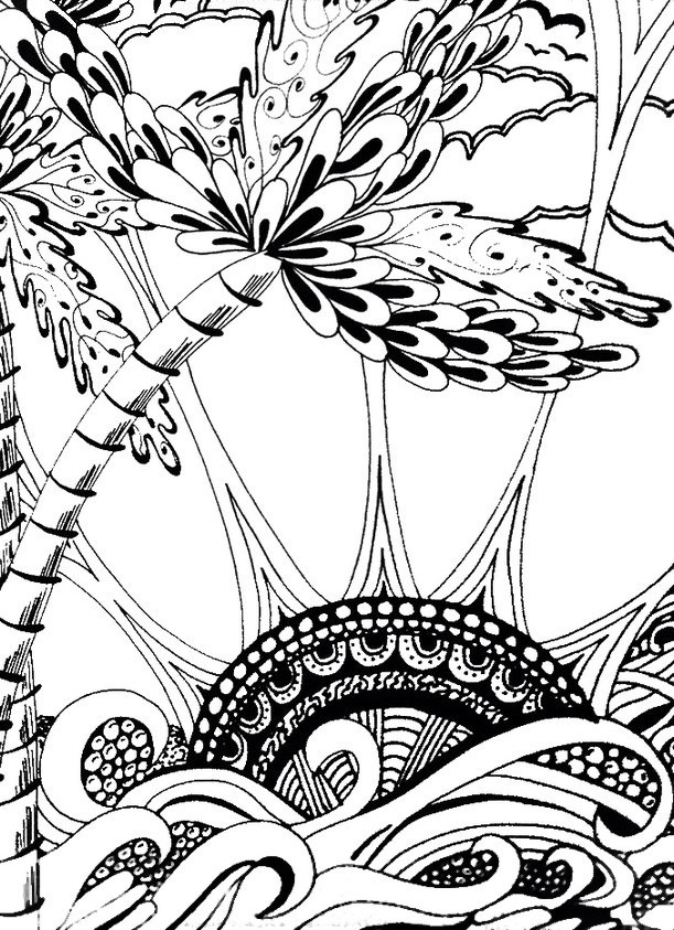 Adult coloring page summer : Sea and sun 7