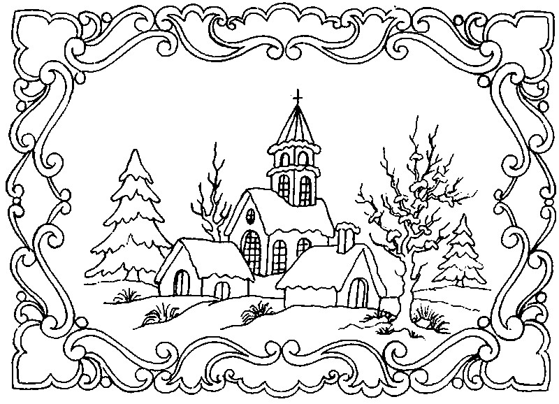 winter landscape more coloring pages - Mountain Landscape Coloring Pages