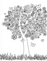 Coloriage anti-stress Arbre au printemps