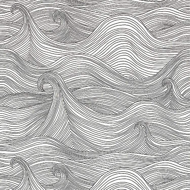 Adult coloring page sea : Waves 13