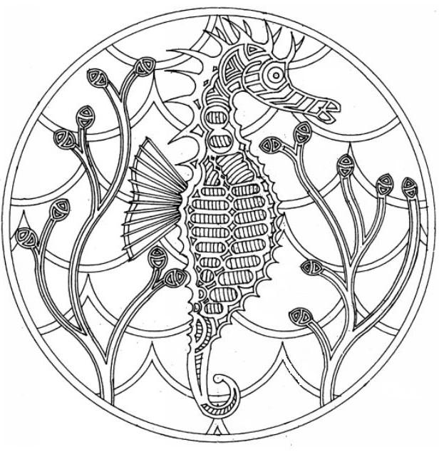 Art Therapy coloring page sea Mandala sea horse 3