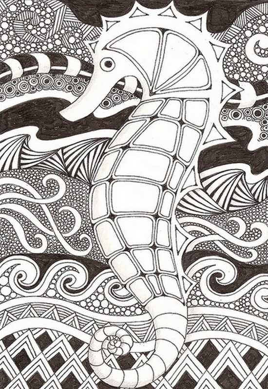 Coloriage Anti Stress Mer Hippocampe 5