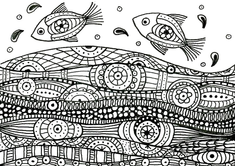 Coloriage anti stress mer poissons 9 for Adult fish coloring pages