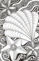 Art Therapy coloring page Starfish and shell
