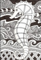 Coloriage adulte Hippocampe