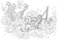 Coloriage adulte Hippocampes