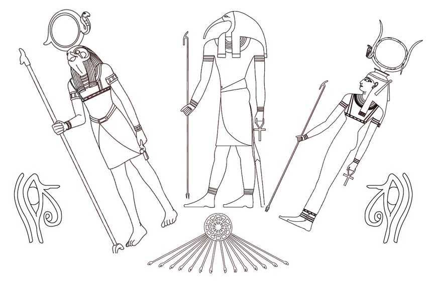 Adult coloring page egypt : Egypt: Egyptian Gods 8