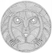 Coloriage adulte Mandala lion