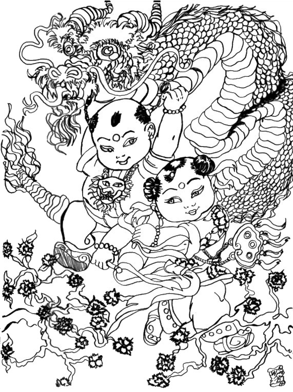 Adult Coloring Page Dragon Dance