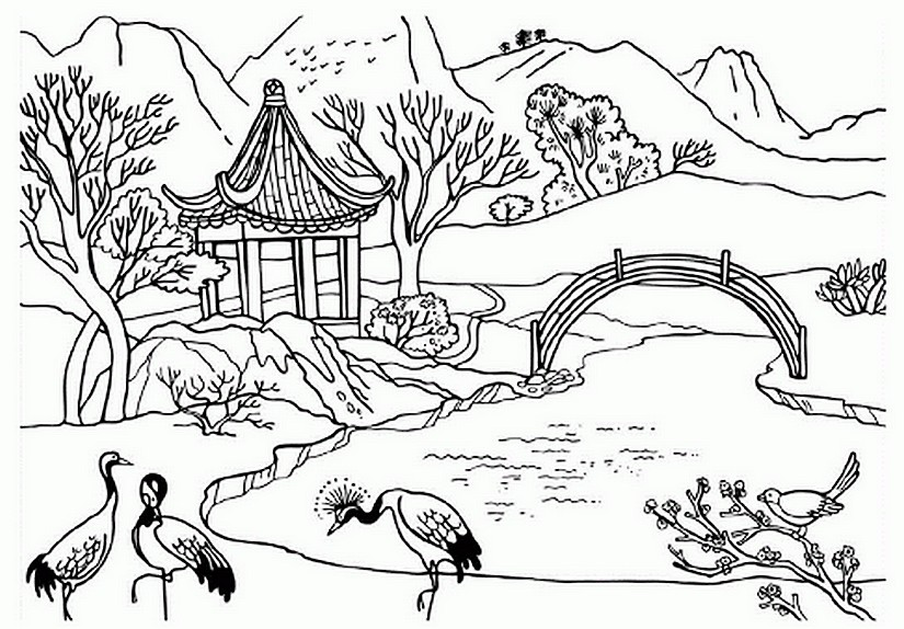 Art Therapy Coloring Page China Chinese Landscape 4