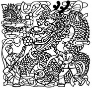 Art Therapy coloring page Chinese Dragon Dance