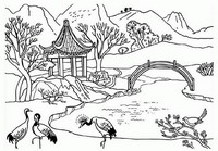 Art Therapy coloring page Chinese landscape