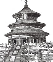 Coloriage anti-stress Temple chinois