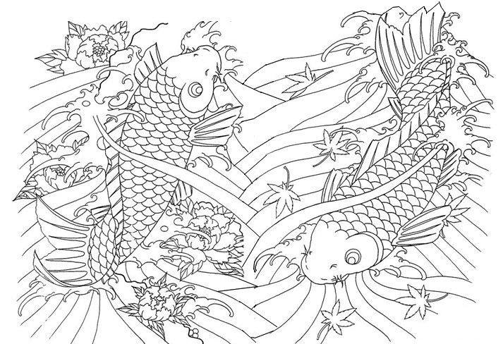 Adult Coloring Page Japan Huge Fishes 11