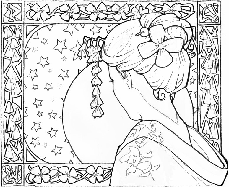 Adult Coloring Page Japan Geisha Girl 14