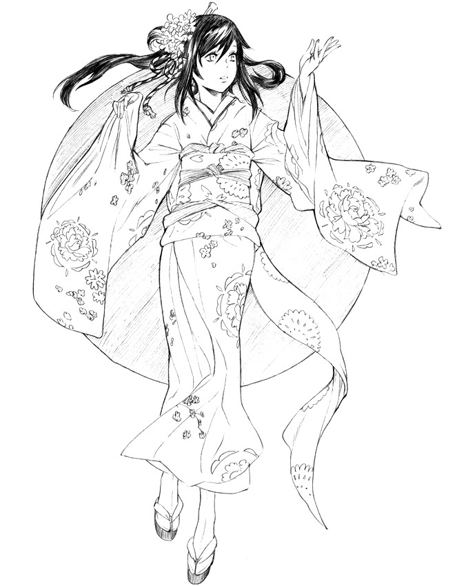 Dibujos para colorear para adultos japon : Quimono 18