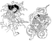 Coloriage anti-stress Japon: Samouraïs