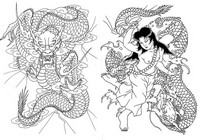 Coloriage anti-stress Japon: Serpents