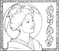 Coloriage anti-stress Japon: Geisha au clair de lune