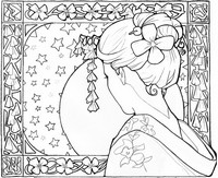 Art Therapy coloring page Japan: geisha girl