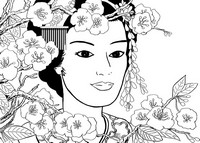 Coloriage anti-stress Japon: Geisha au jardin