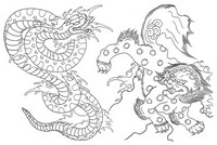 Coloriage anti-stress Japon: Lion et serpent