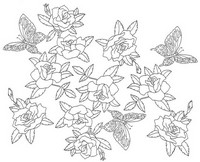 Coloriage anti-stress Japon: Roses et papillons